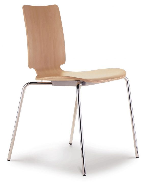 Contemporary chair / stackable / oak