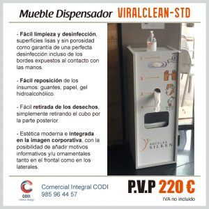 Mueble Dispensador VIRALCLEAN-STD Covid-19