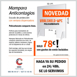 Mampara Anticontagios VIRAL SHIELD-WPC covid-19